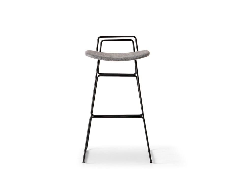 sketch fixed height bar stool with back with chrome frame and grey leather upholstery