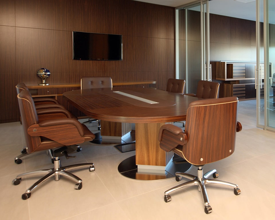 Taiko Luxury Italian Executive Boardroom tables with wire management. Large 3900 long D ended table with matching High - end Nesi executive boardroom chairs
