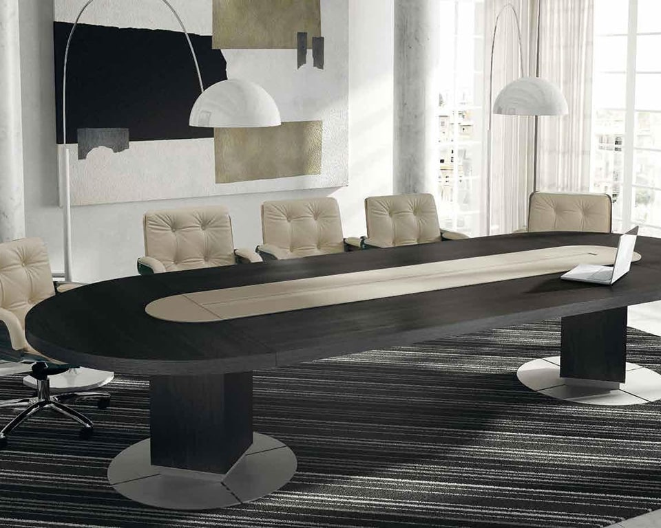 Taiko Luxury Executive Boardroom tables with wire management. Shown here in black ash wooh with matching Nesi executive office chairs