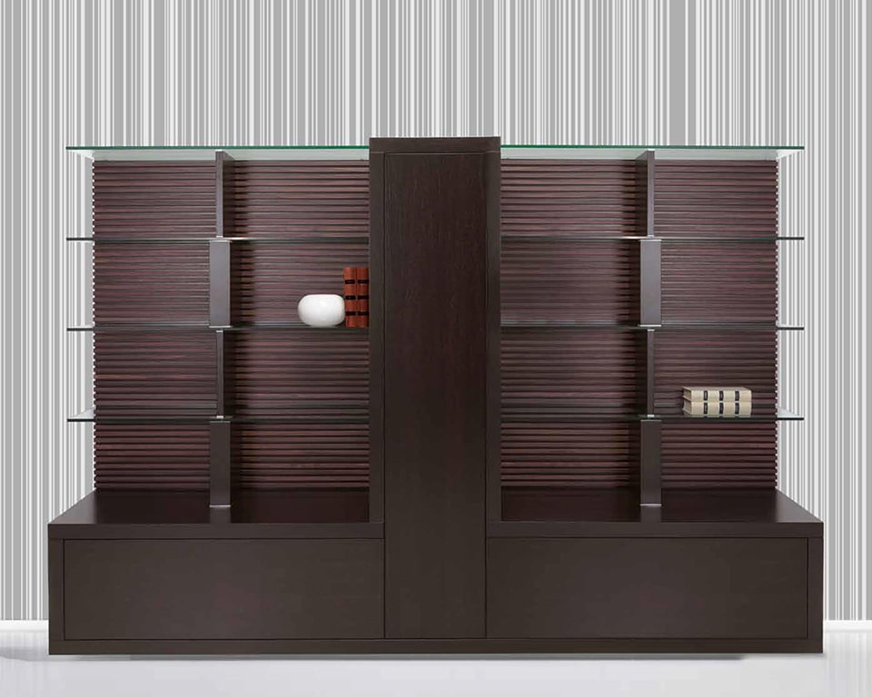 Taiko Luxury Executive bookcase with glass shelves and matching wood finish to Taiko executive desks