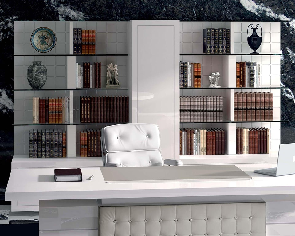 taiko white gloss CEO executive desk with leather buttoned modesty panel and matching white gloss bookcase