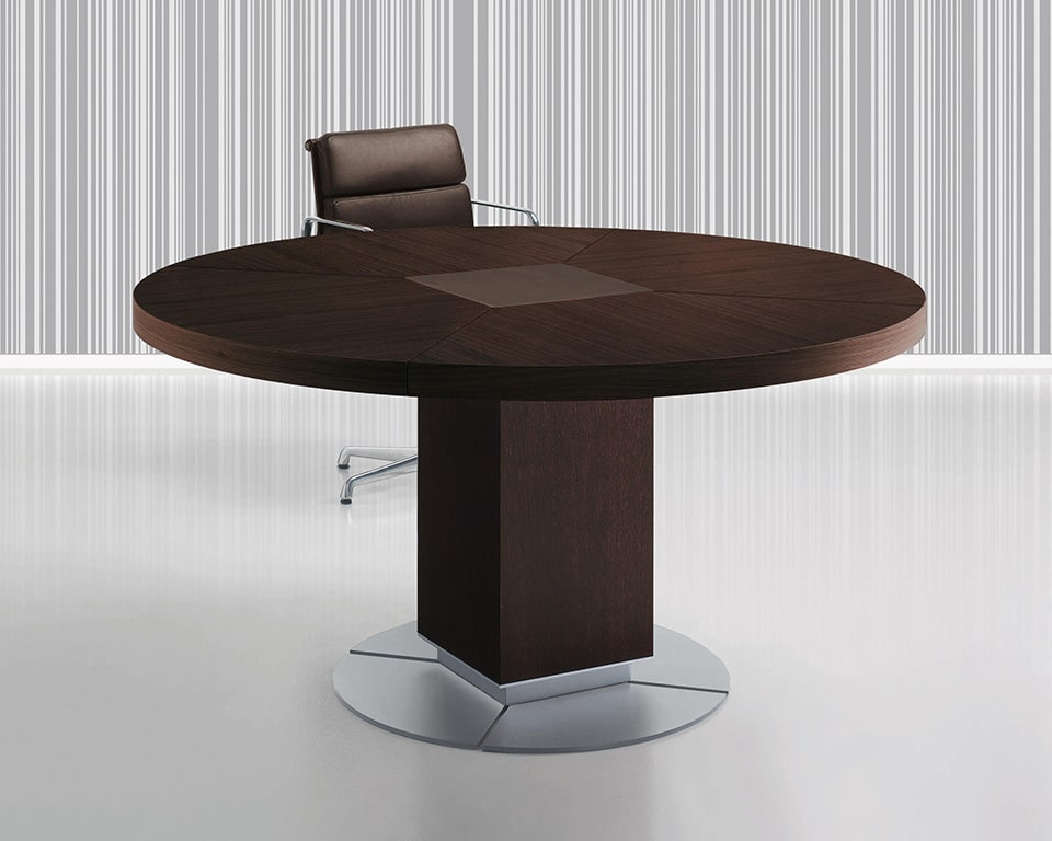 Taiko Luxury Executive Boardroom tables with wire management. 1500 diameter large round meeting table in dark oak wood with a leather inlay in the centre
