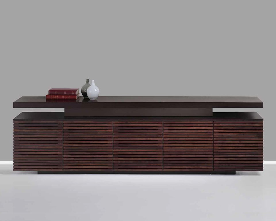Taiko large 5 door Luxury Executive sideboard with glass doors and matching wood finish to Taiko executive desks