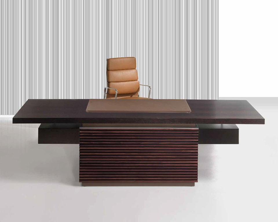 Taiko Luxury Executive desk with 2 drawers all in dark oak wood with a dark brown leather inlaid desk top