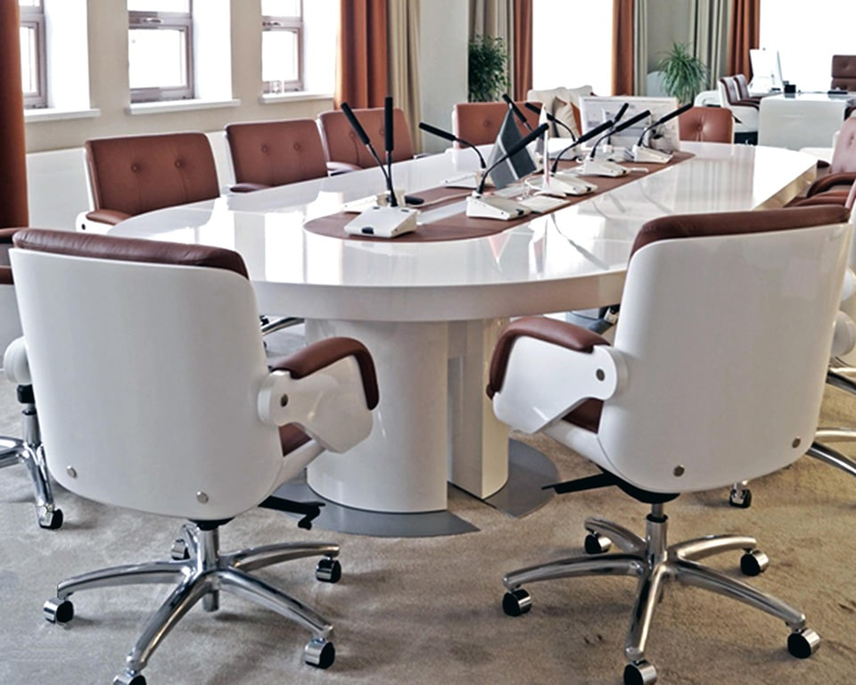 Tau Luxury Executive Boardroom tables with wire management