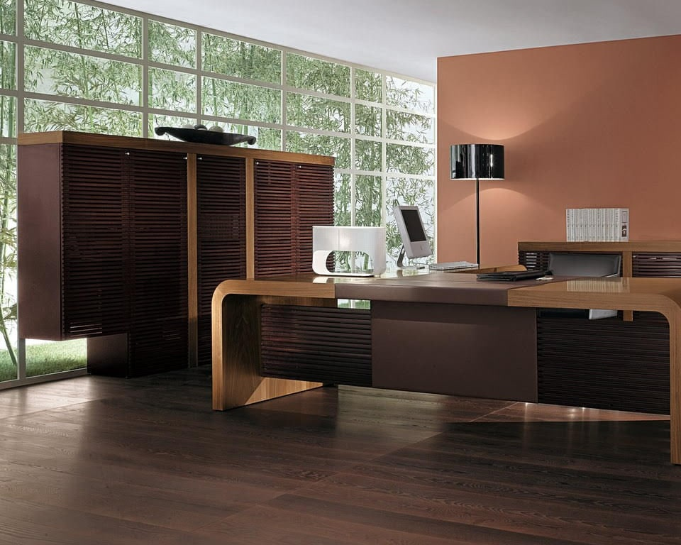 Tau Modern CEO executive desk in Italian walnut and leather inlaid top. Luxury executive range with matching high and low bookcases and sideboards