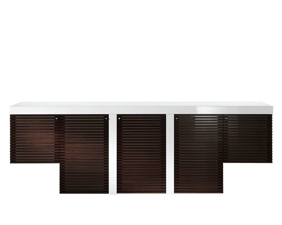 Tau Luxury Executive sideboard with matching wood finish to Tau executive desks