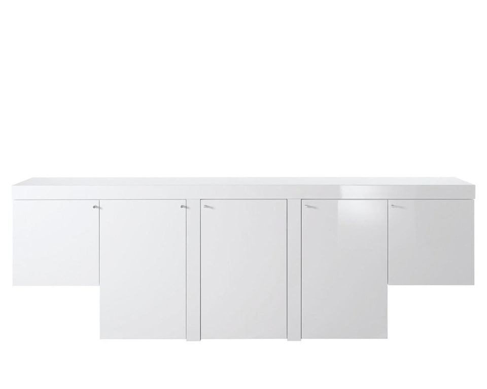 Tau White gloss Luxury Executive office sideboard with matching wood finish to Tau large executive office desks