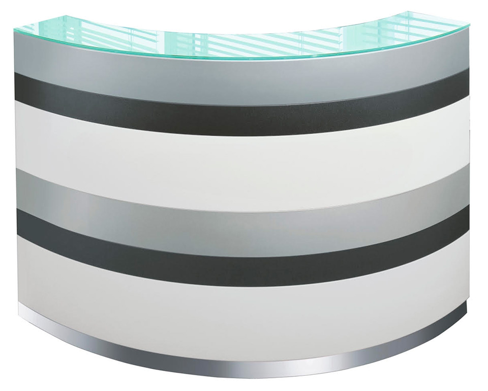 twist-reception-small curved reception desk with 6 stripes for the front panel and glass counter top