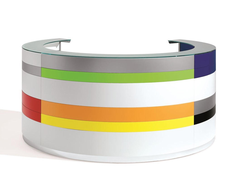 twist-reception-circular curved reception desk with 6 stripes for the front panel and glass counter top