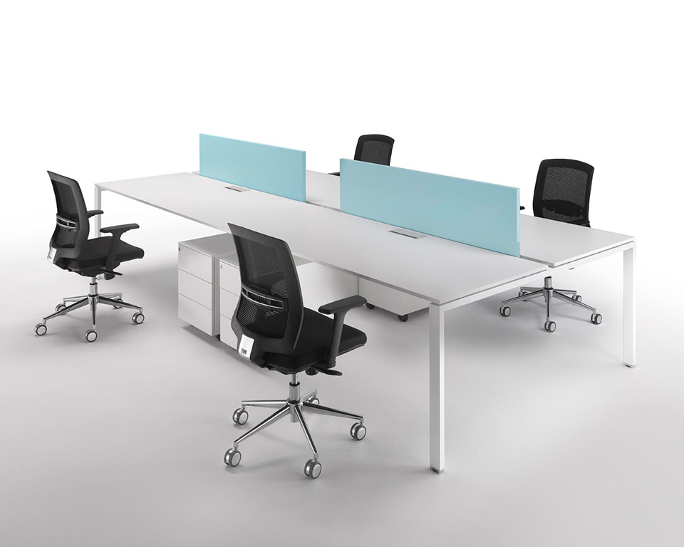 modular bench desks for open plan offices with sky blue divider screens