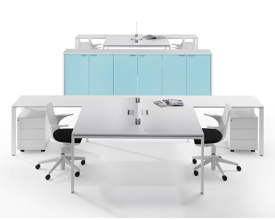 modular bench desks for open plan offices with sky blue office cupboards