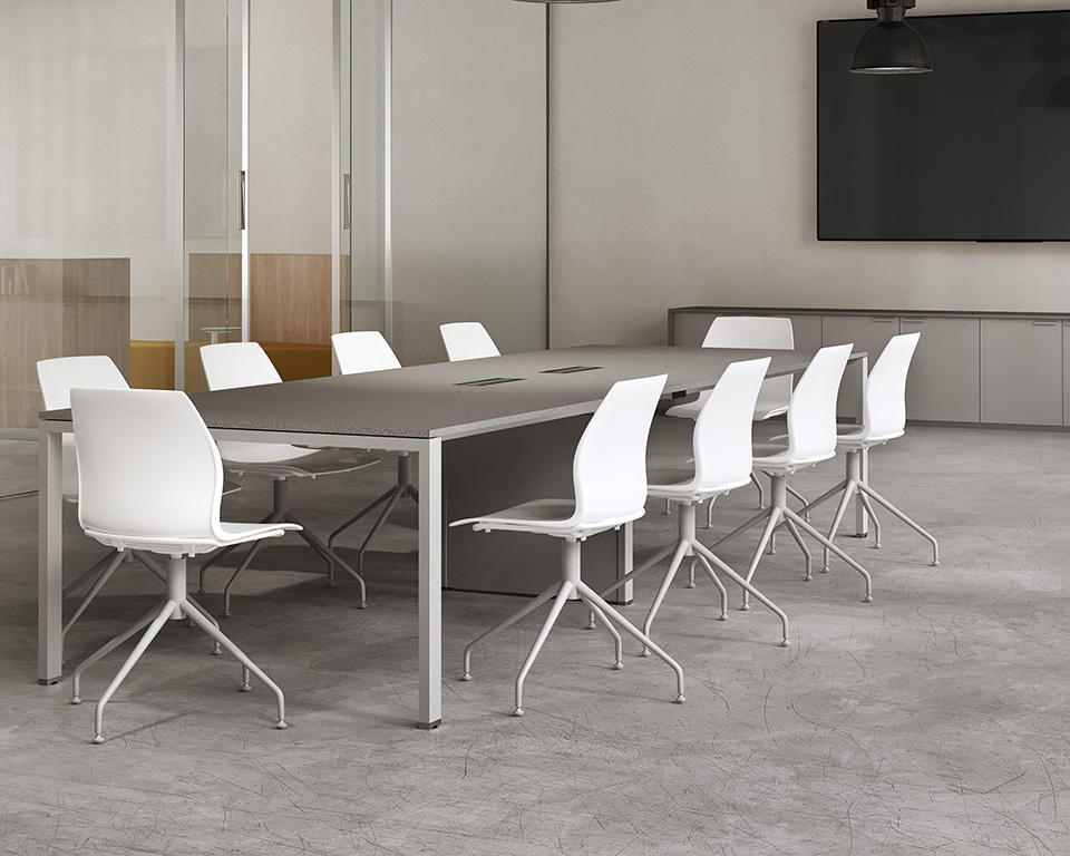 6x3-boardroom-Modular meeting room tables with wire management
