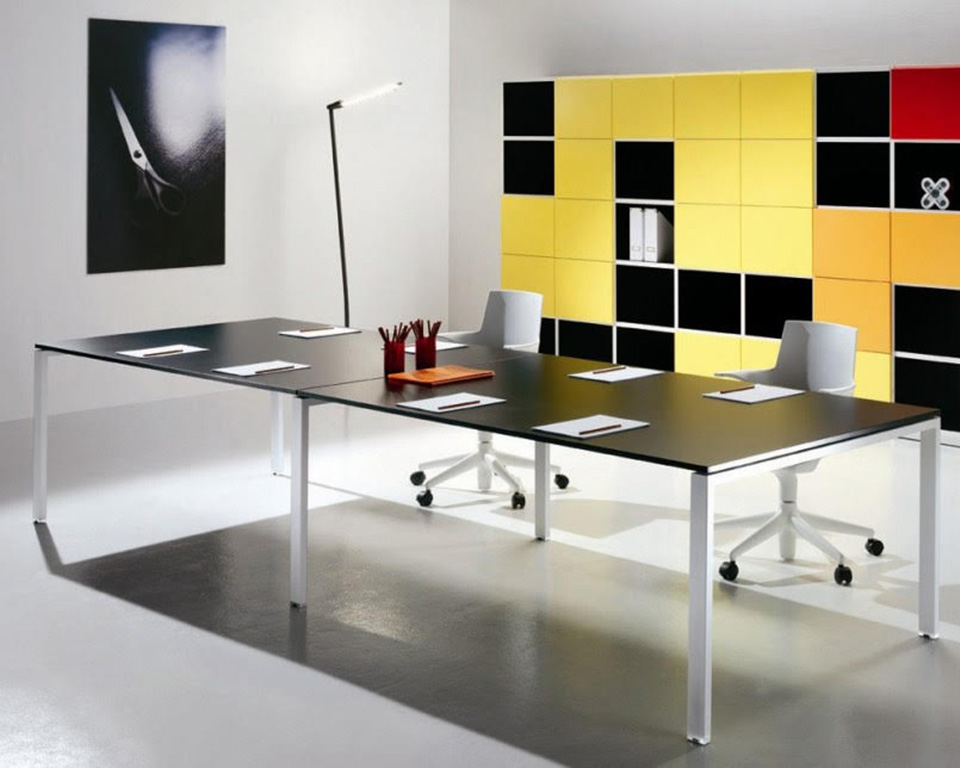 6x3-boardroom-Modular meeting room tables with wire management and least boxes bookcases in yellow