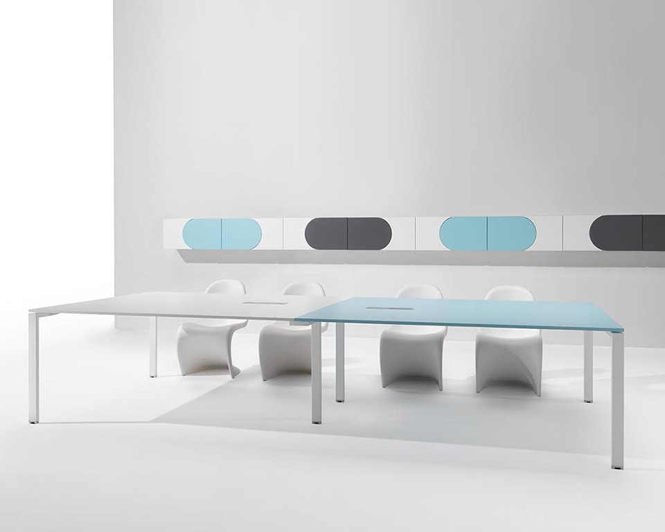 6x3-boardroom-Modular meeting room tables with wire management with forme doors wall mounted storage
