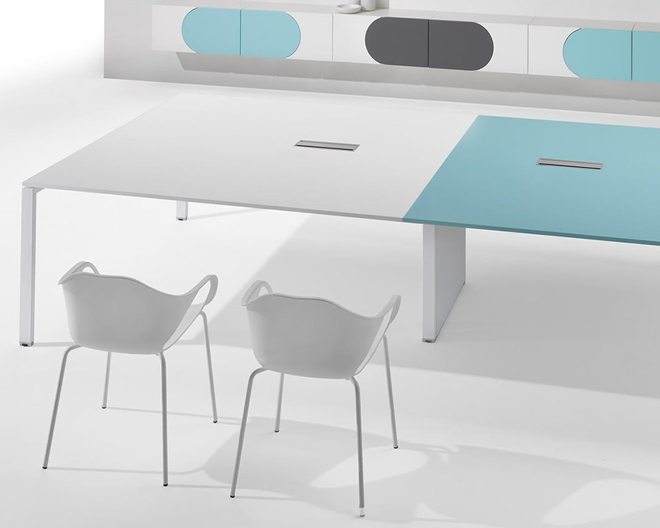 Full range of modular meeting tables complete with horizontal and vertical cable management . The large table top sizes are in versatile and durable melamine laminate .