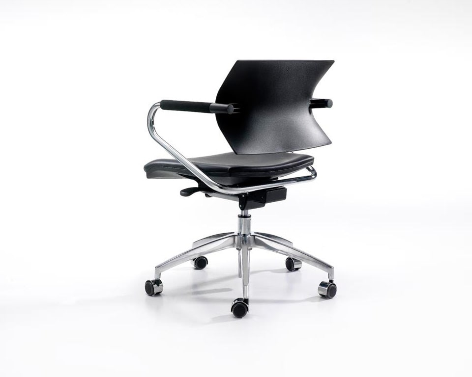 Aire jr home office swivel chair in black with a black leather seat pad