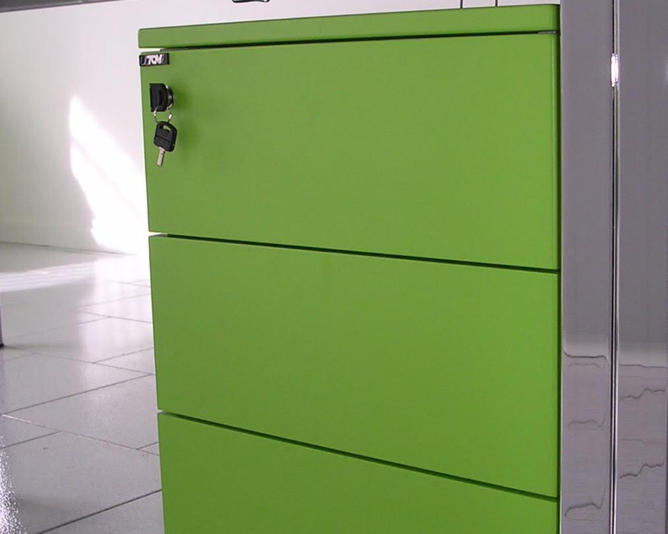 High quality under desk storage pedestals with 3 drawers or a two drawer filing model with lacquered drawer fronts