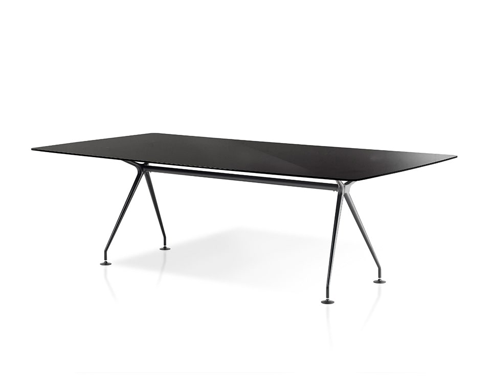dapper designer black glass Italian meeting room table with die cast aluminium base