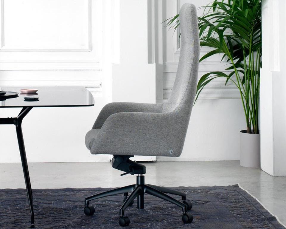 Darwin Luxury Italian High back Executive chairs in leather of fabric shown here in grey fabric