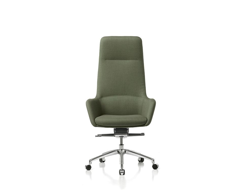 Darwin Luxury Italian High back Executive chairs in leather of fabric shown here in green wool fabric