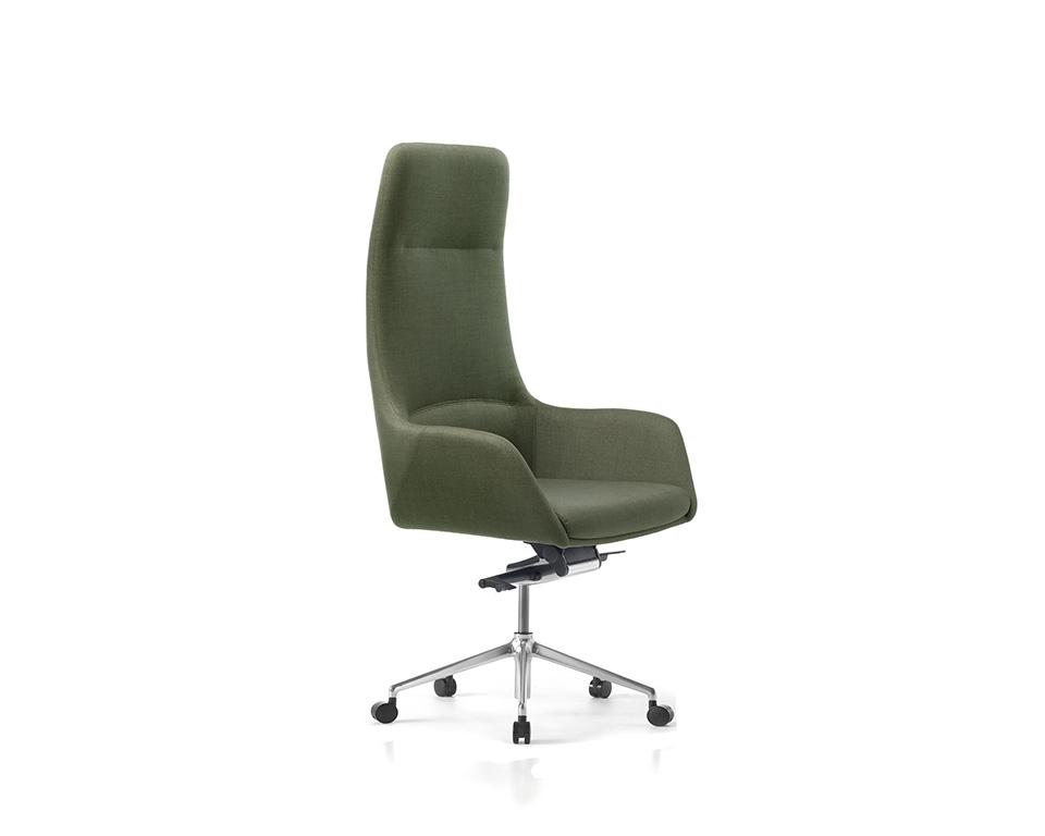 Darwin Luxury Italian High back Executive chairs in leather of fabric shown here in dark green fabric
