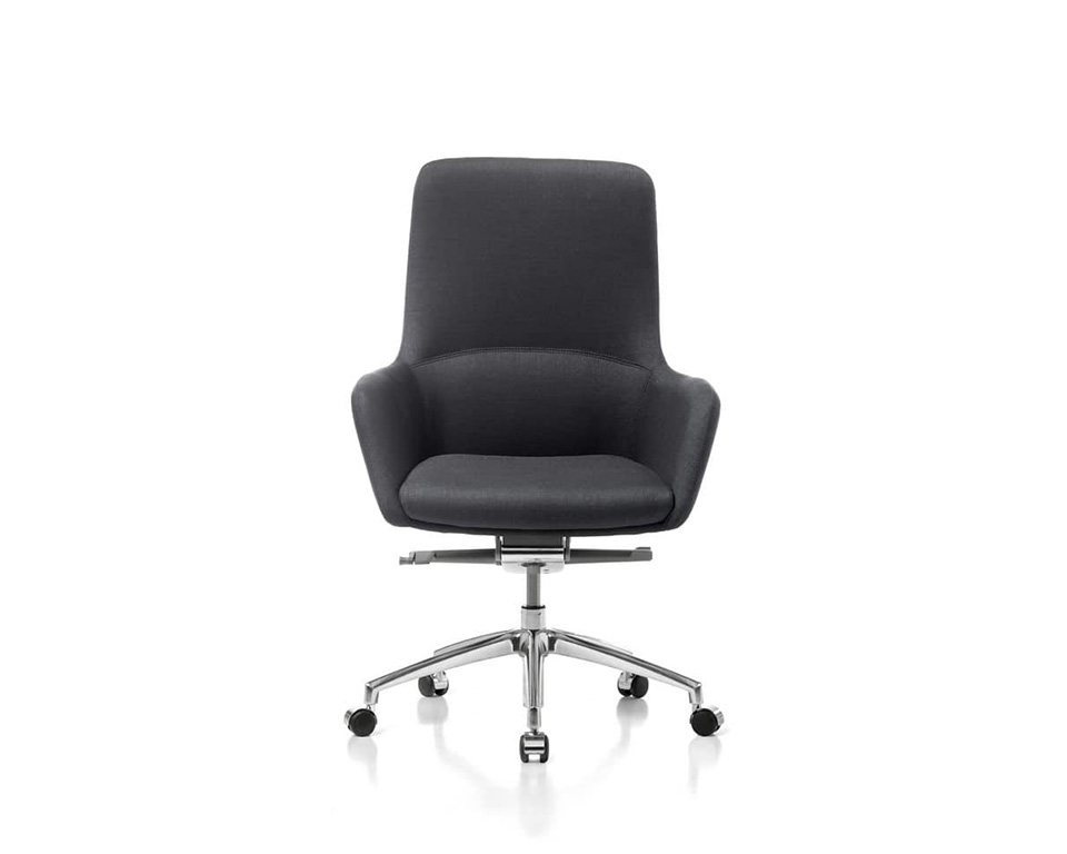 Darwin Luxury medium High back Executive chairs in leather of fabric front view