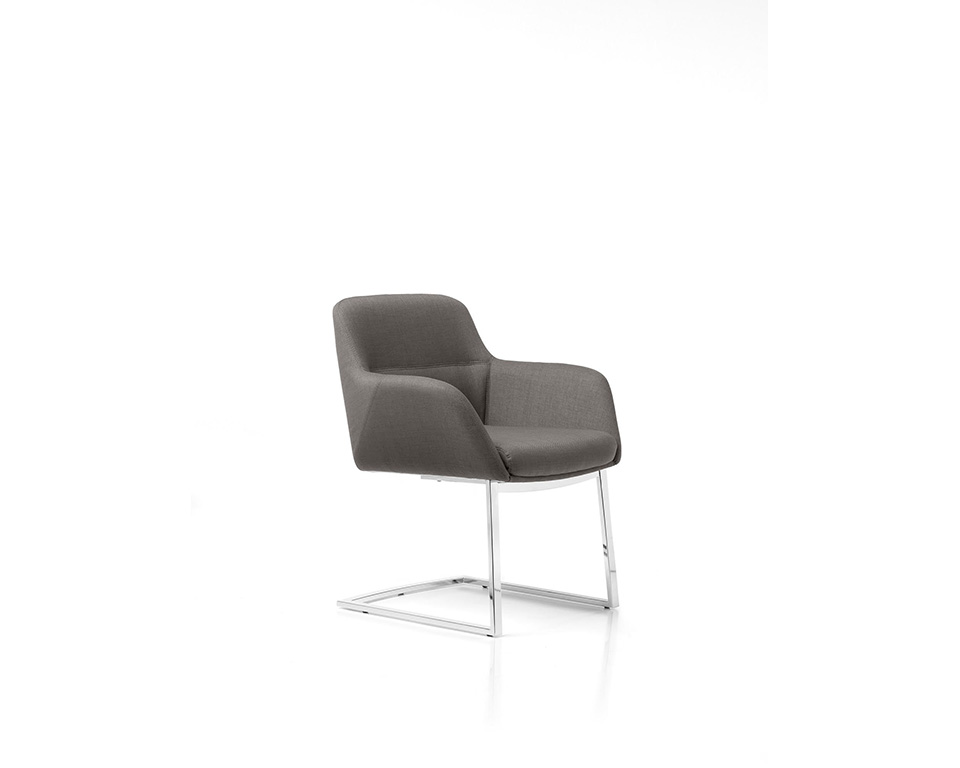 Darwin high quality Executive cantilever boardroom chairs in leather of fabric side view
