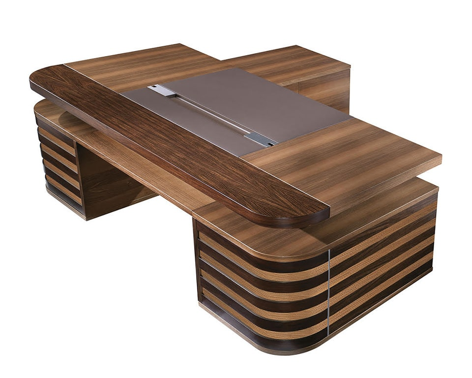 Luxury EDOC executive desks in High quality wood finishes . Rectangular desks with leather inlaid desk tops. A double pedestal modern executive desk with or without a side return.
