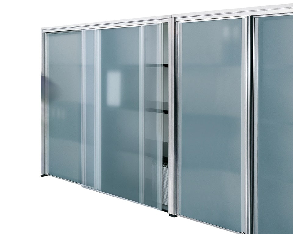 Luxury quality high sliding door cupboards with lacquered structure and sand blasted glass sliding doors