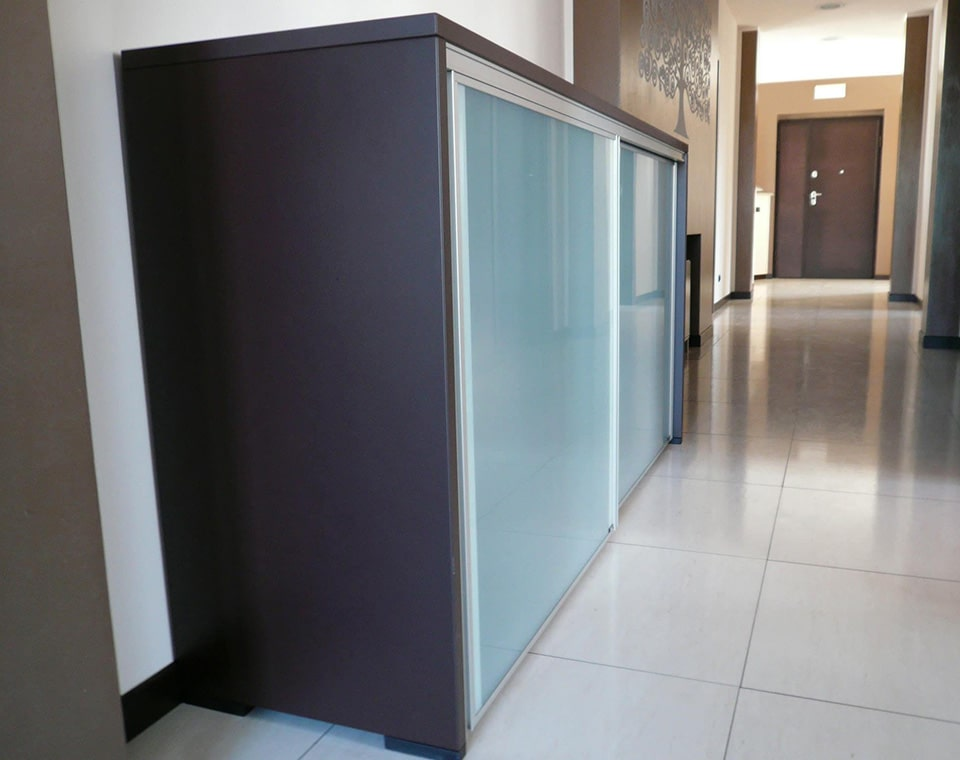 Luxury quality low sliding door cupboards with lacquered structure and sand blasted glass sliding doors