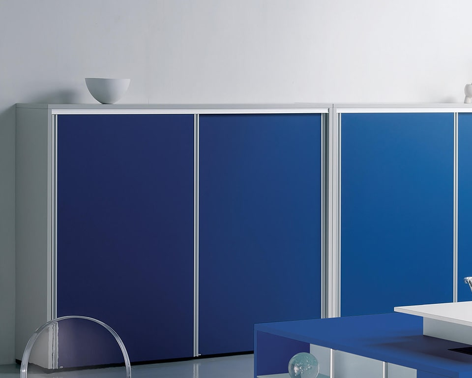Luxury quality sliding door cupboards with lacquered structure and matt lacquered sliding doors