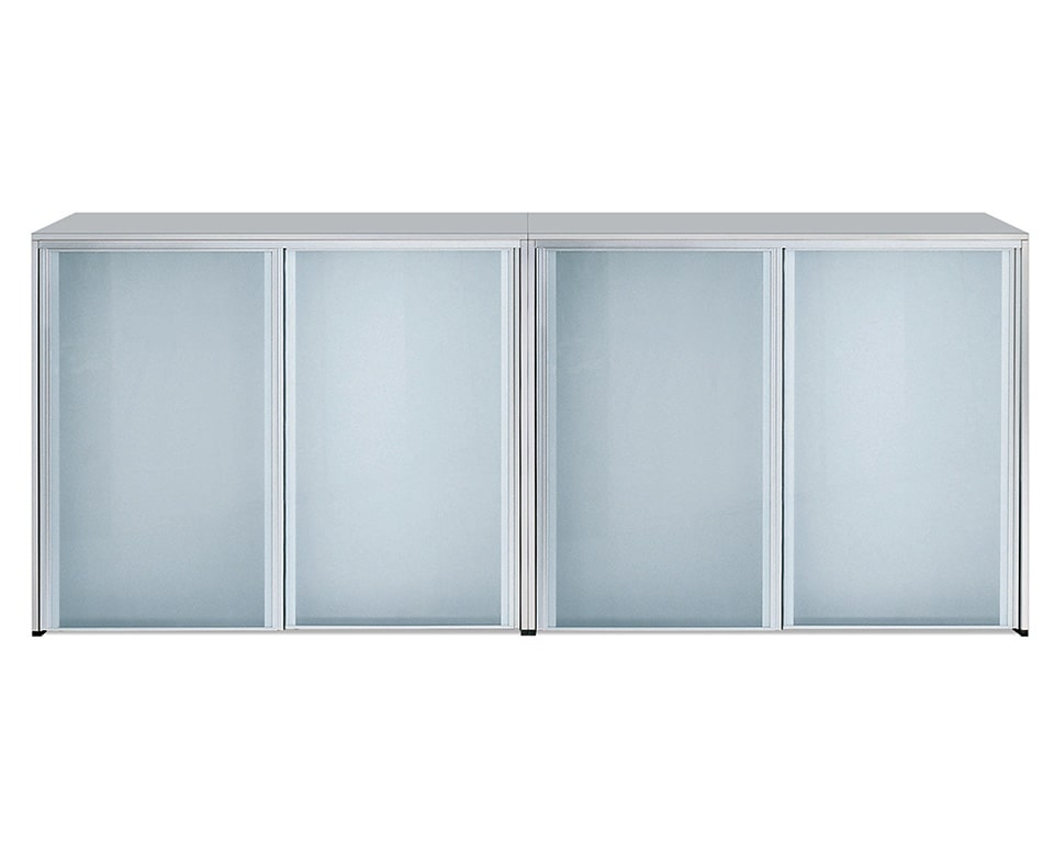 Luxury quality sliding door cupboards with lacquered structure and sand blasted glass sliding doors