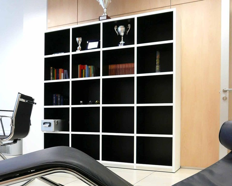 High quality Italian range of open bookcases or bookcases
