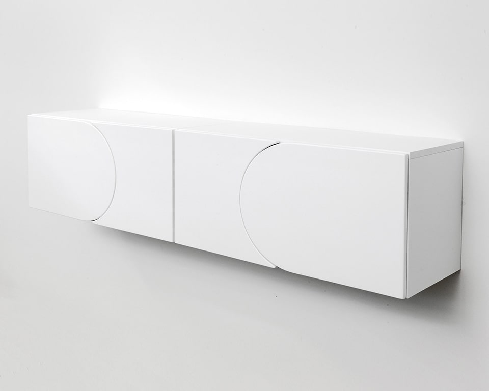forme wall mounted boxes with concave and convex doors in lacquered colours