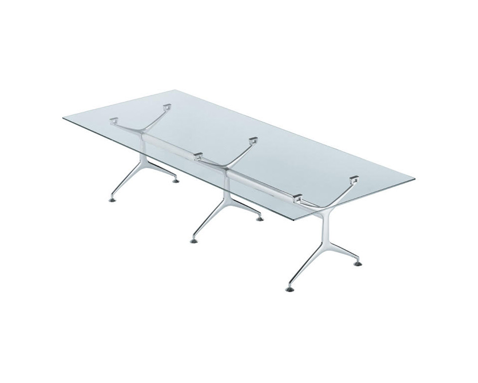 frame-large clear glass boardroom table with die cast aluminium legs
