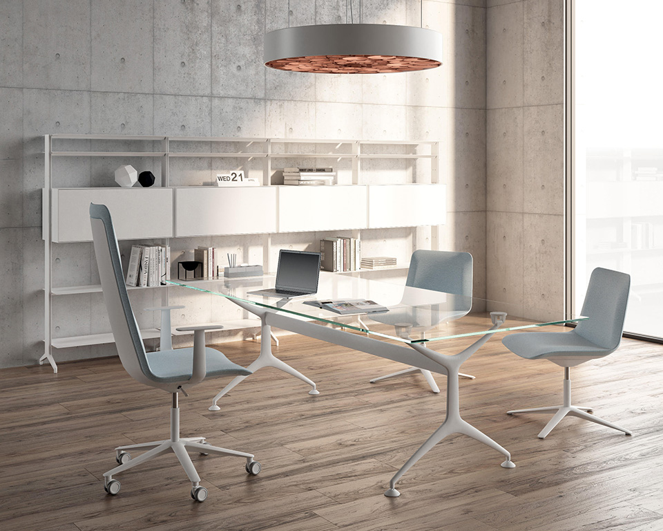 frame-mini- Small clear glass desk with white legs and slim chairs by alias