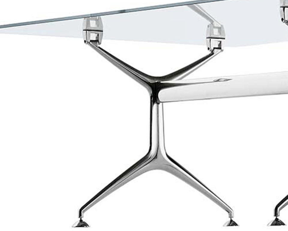 Mini frame black glass desk with die cast polished aluminium legs