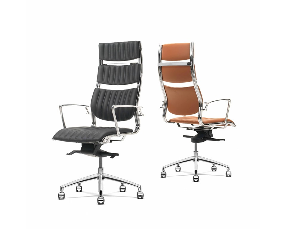 Havana High back Executive office Chairs with arms In Tan leather and black leather