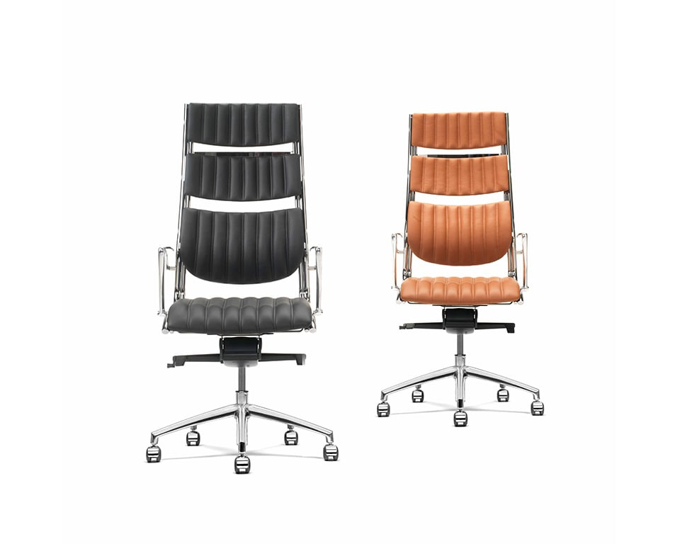 Havana High back Executive office Chairs with arms In Tan leather and black leather- front view