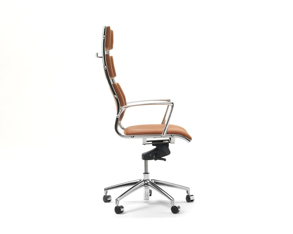 Havana High back Executive office Chairs with arms In Tan leather - side view