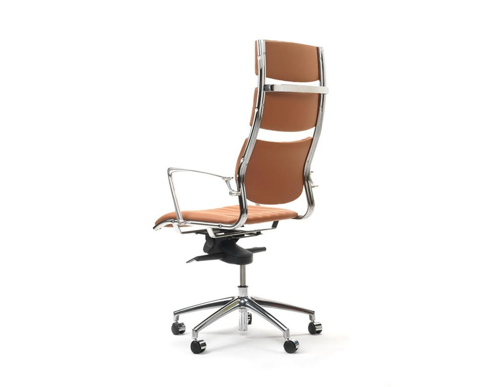 Havana High back Executive office Chairs with arms In Tan leather