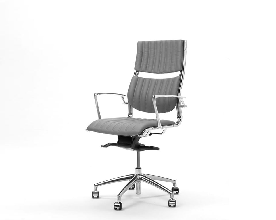 Havana Medium High back Executive office Chairs In real Italian leather - front view