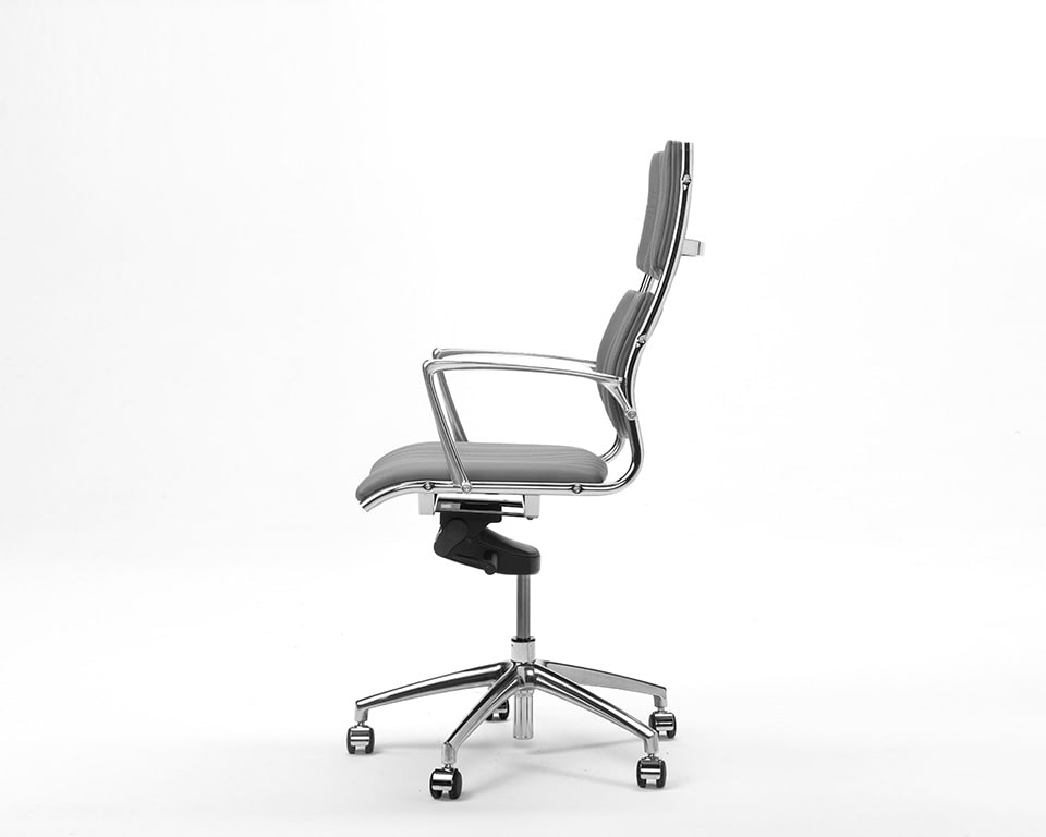 Havana Medium High back Executive office Chairs In real Italian leather - side view