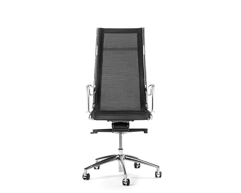 Havana High Back executive designer chairs in All mesh Front view in black net weave