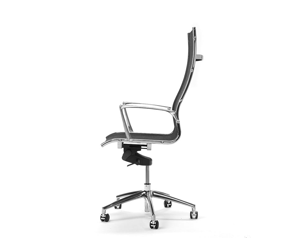 Havana High Back executive designer chairs in All mesh side view in black net weave