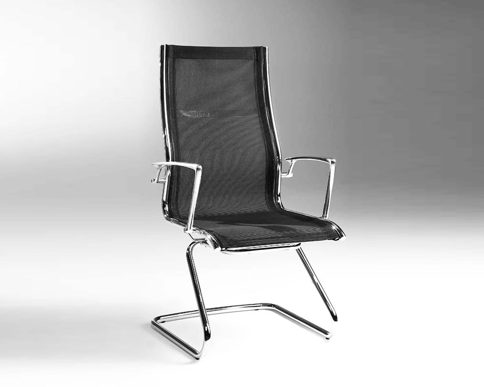 Havana Cantilever Visitors executive designer chairs in continuous black net weave upholstery design