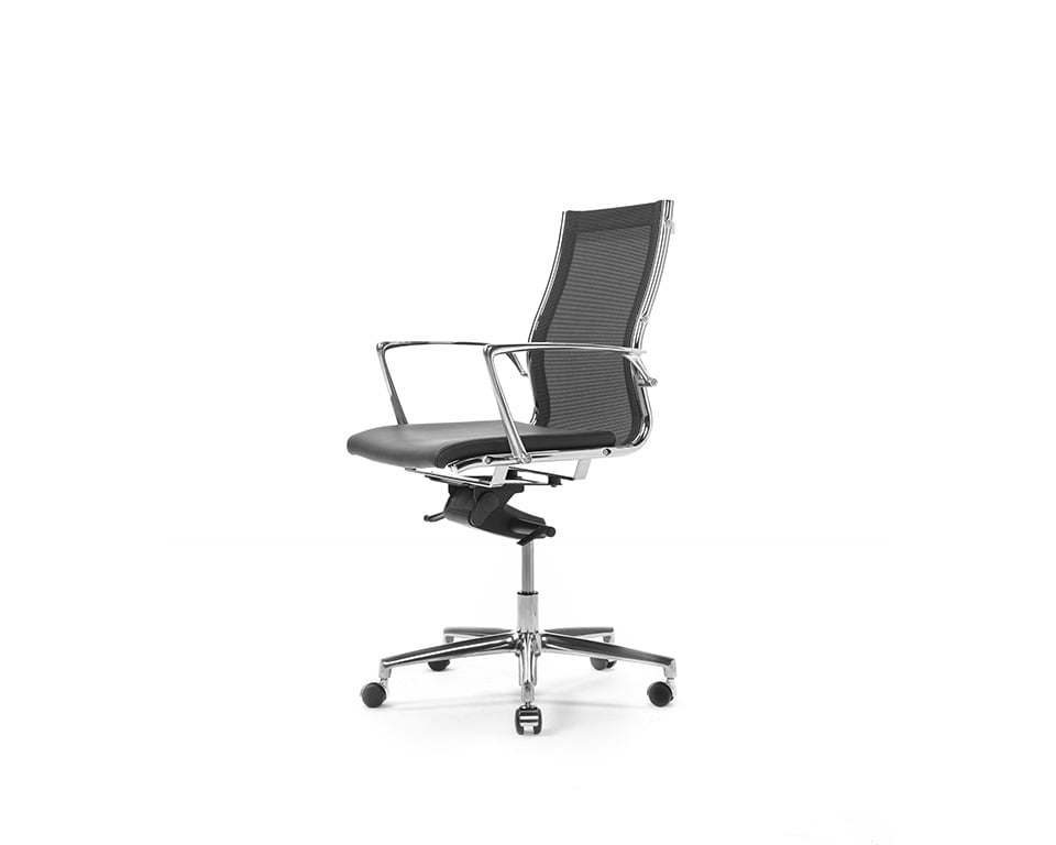 Havana Mini Medium back managers chair and boardroom chair in black leather and black net weave upholstery