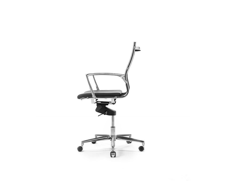 Havana Mini Medium back managers chair and home office chair in black leather and black net weave upholstery