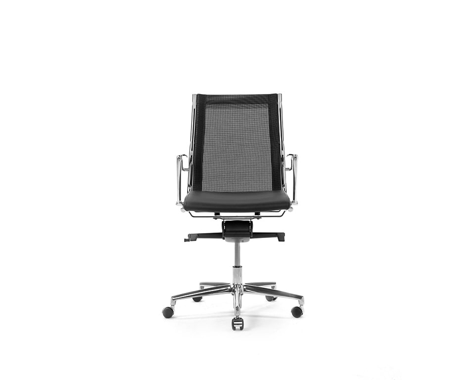 Havana Mini Medium back managers chair and boardroom chair in black leather and black mesh upholstery